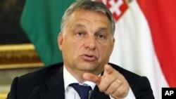 Le premier ministre hongrois Viktor Orban à l'ambassade de la Hongrie à Vienne, septembre 2015. Source:AP