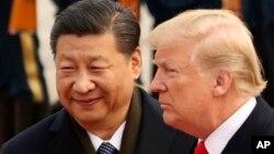 中国国家主席习近平在北京人民大会堂欢迎美国总统特朗普。(2017年11月9日)