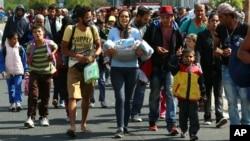 10일 난민들이 오스트리아 국경을 넘고 있다. 오스트리아 경찰은 하룻밤에 3천명이 넘는 난민이 헝가리 접경 도시 니켈스도르프로 들어왔다고 밝혔다.