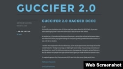A screenshot of the Guccifer 2.0 website on Aug. 13, 2016
