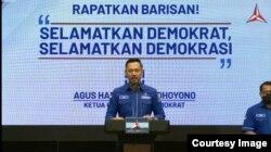Ketua Umum Partai Demokrat, Agus Harimurti Yudhoyono, menegaskan bahwa KLB versi Deli Serdang adalah ilegal. (Tangkapan layar)
