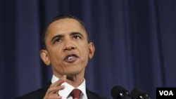 Presiden Barack Obama berbicara mengenai Libya di National Defense University, Washington DC (28/3)