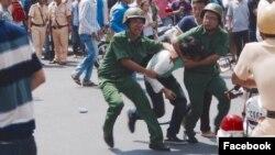 Người biểu tình bị bắt giữ tại Việt Nam. (Ảnh: Facebook Le Cong Dinh)