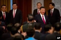 中国国家主席习近平等领导人出席国务院在人民大会堂举行的庆祝中华人民共和国成立六十八周年的国庆招待会(2017年9月30日)