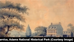 The Adams' family home, Peace field, in Braintree, Massachusetts. 1798 Painting by E. Malcom.