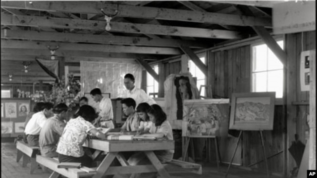 An art class at Manzanar War Relocation Center, one of 10 camps where Japanese-Americans were held during World War II.