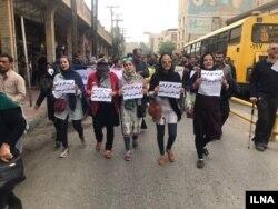 راهپیمایی کارگران گروه ملی فولاد ایران در بیست و پنجمین روز اعتراض