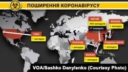 Підтверджені випадки поширення коронавірусу станом на 22 січня 2020