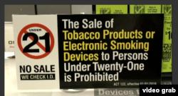 Peringatan larangan penjualan bagi warga berusia di bawah 21 tahun di Amerika Serikat. (VOA/videograb)