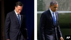 Ông Mitt Romney (trái) đến vận động tranh cử tại Springfield, Virginia, và Tổng thống Barack Obama về đến Tòa Bạch Ốc sau khi đi vận động tại Virginia Beach, Virginia (ảnh tư liệu)