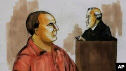 FILE - A 2009 courtroom drawing shows David Coleman Headley, left, pleading not guilty before U.S. District Judge Harry Leinenweber in Chicago to charges that accuse him of conspiring in the deadly 2008 terrorist attacks in Mumbai.