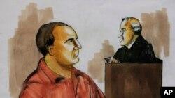 Gambar sketsa pengadilan tahun 2009 menunjukkan David Coleman Headley, kiri, mengaku tidak bersalah di depan Hakim Harry Leinenweber di Chicago atas tuduhan konspirasi dalam serangan teror maut tahun 2008 di Mumbai.
