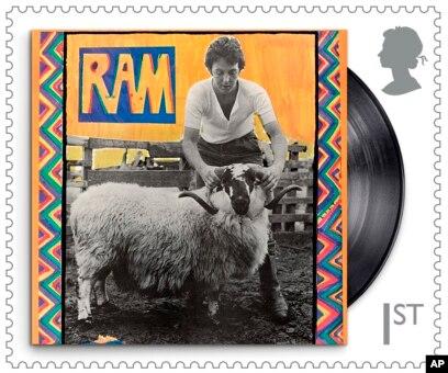 Salah satu perongko khusus serial Musisi Paul McCartney yang dirilis Dinas Pos Kerajaan Inggris. (Royal Mail via AP)