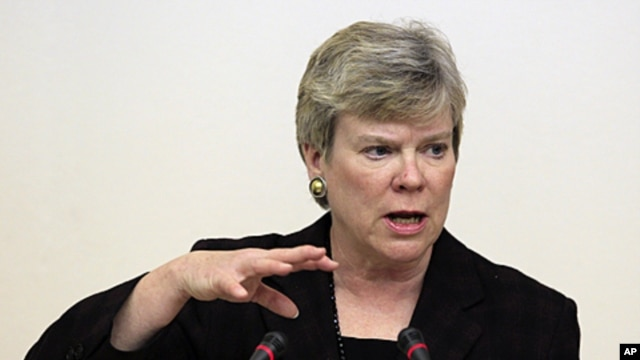 Rose Gottemoeller, Acting Under Secretary for Arms Control and International Security delivers a lecture to students at the Moscow State Institute of International Relations (MGIMO) in Moscow, March 30, 2012.