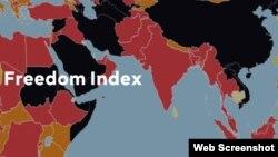 Bản đồ màu đen của Việt Nam trong bảng xếp hạng Chỉ số Tự do Báo chí Thế giới của tổ chức Phóng viên Không Biên giới năm 2016. Việt Nam đứng thứ 175/180 nước.