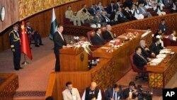 파키스탄을 방문한 시진핑 중국 국가주석이 21일 파키스탄 의회에서 연설하고 있다.