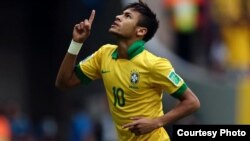 Neymar scored twice to ensure a Brazilian win at the Arena Corinthians Stadium in Sao Paulo. (Courtesy Photo)