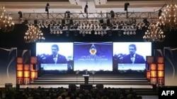 Tổng thống Indonesia Susilo Bambang Yudhoyono đọc diễn văn khai mạc Hội nghị Thượng đỉnh ASEAN thứ 18th ở Jakarta, ngày 7 tháng 5, 2011