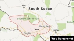 Peta kota Maridi, tempat terjadinya ledakan mobil tangki minyak di Sudan Selatan hari Rabu (16/9).