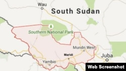 Map of Western Equatoria state in South Sudan, showing the town of Maridi, where violence has erupted.