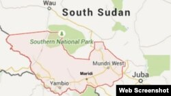 Map of Western Equatoria state in South Sudan, showing the town of Maridi, where a fuel tanker rolled over and exploded on Sept. 16, 2015.