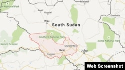 Map of Western Equatoria state in South Sudan, showing the town of Maridi, where the accident occurred.