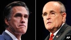 Cựu ứng viên Tổng thống đảng Cộng Hòa Mitt Romney (trái) và cựu thị trưởng New York Rudolph Giuliani.