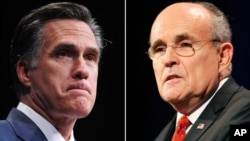 Former Massachusetts governor Mitt Romney and former New York City Mayor Rudolph Giuliani are seen in this composite photo.