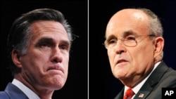 Mitt Romney (agoch) epi Rudolph Giuliani (adwat).