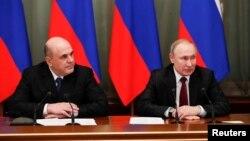 21 Ocak 2020 - Moskova, Rusya, Devlet Başkanı Vladimir Putin ile yeni Başbakan Mihail Mişustin