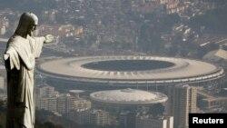 Vista aérea del estadio Maracaná donde se desarrollara la ceremonia inaugural de los Juegos Olímpicos.