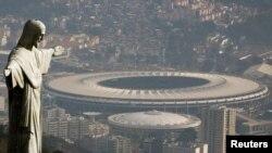 Stadion Maracanã, lokasi upacara pembukaan Olimpiade 2016 di Rio de Janeiro, Brasil yang akan diselenggarakan Jumat (5/8) malam.