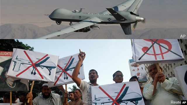 FILE - This composite image shows a U.S. Air Force drone that was piloted during missions over the tribal regions of Pakistan and Afghanistan, and Pakistan's Islamist party Pasban (bottom photo) protesting against U.S. drone attacks in the Pakistani tribal region, Karachi, Pakistan.