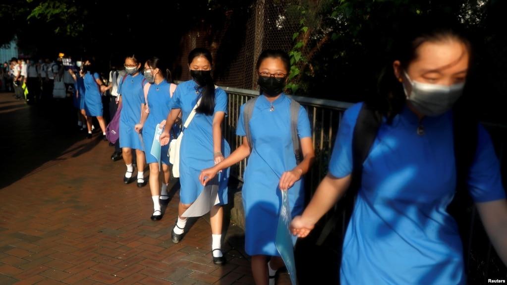 香港多家大中学发起联校人链示威促当局回应五大诉求