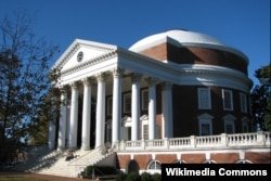 The Rotunda, designed by Thomas Jefferson, is the centerpiece of the University of Virginia grounds. The part of campus designed by Jefferson is a UNESCO World Heritage Site.