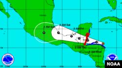 Trayectoria esperada de la tormenta tropical Earl, en el este del Caribe.