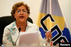 FILE - Venezuela's National Electoral Council (CNE) President Tibisay Lucena speaks during a news conference in Caracas, Venezuela, Aug. 1, 2016.