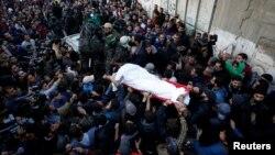 Isroil hujumida halok bo'lgan falastinlik janozasi, 9-dekabr, 2017-yil