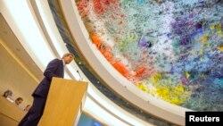 Ngoại trưởng Mỹ John Kerry phát biểu tại Hội đồng Nhân quyền Liên Hiệp Quốc ở Geneva, 2/3/2015.