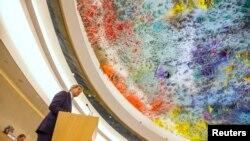 존 케리 미국 국무장관이 지난 2일 스위스 제네바에서 개막한 유엔 인권이사회에서 발언하고 있다. (자료사진)
