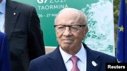 Le président tunisien Béji Caïd Essebsi à Toarmina, Scile, Italie, 27 mai 2017.