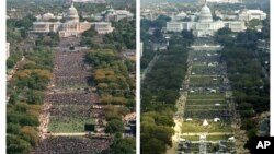 The Oct. 16, 1995 photograph (L) shows the National Mall in Washington and the crowd for the Million Man March. The photograph at right shows the crowd gathered on the National Mall Saturday, Oct. 15, 2005 for the Millions More Movement rally.