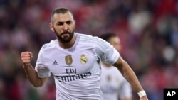 Karim Benzema au stade de Bilbao, le 23 septembre 2015. (AP Photo/Alvaro Barrientos)