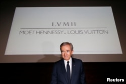 Chairman and CEO of Luxury goods group LVMH Bernard Arnault leaves after a news conference, to announce a deal to simplify Christian Dior business structure, in Paris, France, April 25, 2017.