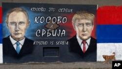 Hình ảnh Tổng thống Putin và ông Trump trên một bức tường ở Belgrade, Serbia.