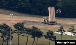 한국 성주에 배치된 미군 사드 고고도요격미사일 발사대.