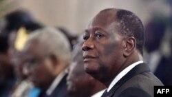 Le président ivoirien Alassane Ouattara lors de la cérémonie des voeux, à Abidjan, le 4 janvier 2018.