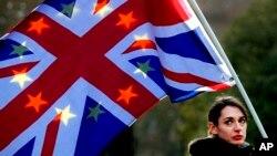Un manifestante sostiene bandera en una manifestación contra el Brexit frente a la Cámara del Parlamento en Londres, el martes 27 de noviembre de 2018.