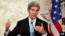 FILE - U.S. Secretary of State John Kerry, shown at a news conference earlier this month, will meet with his Iranian counterpart and European negotiators to discuss a nuclear agreement that could lead to lifting of sanctions on Iran.