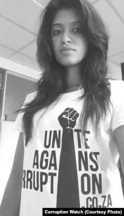 Kavisha Pillay before a recent anti-corruption protest in Pretoria.